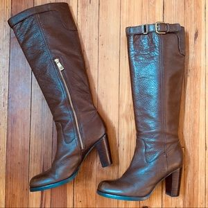 Coach Kaylie knee hi brown leather boots 8